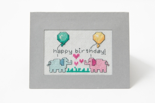 front view of the cross stitch in the card