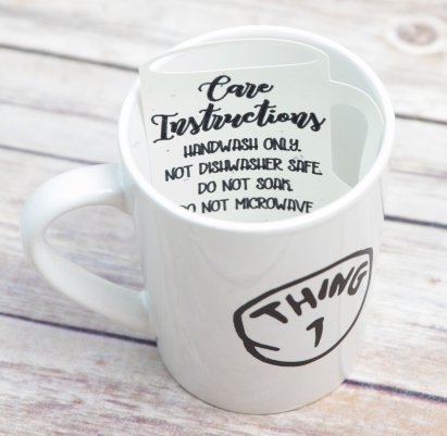mug with care instructions