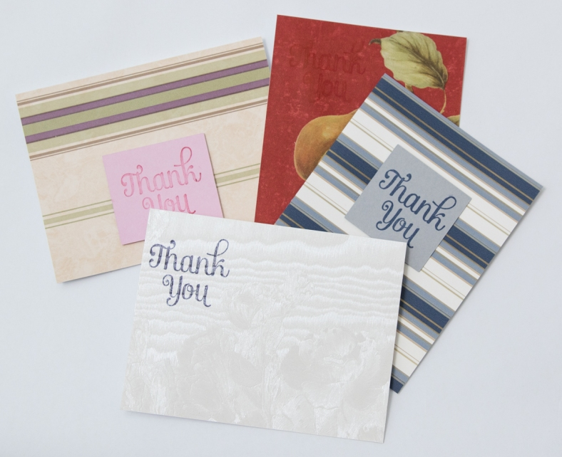 flat lay 4 thank you cards