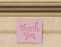 Thank you attached to wallpaper card