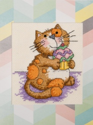 front of cake cat card